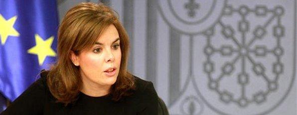 La vicepresidenta, ministra de la Presidencia y Portavoz, Soraya S�enz de Santamar�a, en la rueda de prensa posterior al Consejo de Ministros